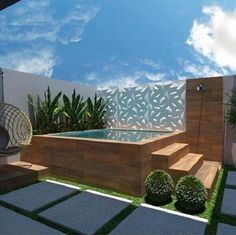 55 attractive backyard swimming pool designs ideas for your small backyard 15 Hot Tub Backyard, Small Backyard Pools, Swimming Pools Backyard, Swimming Pool Designs, Backyard Landscaping, Indoor Pools, Small Pools, Landscaping Design, Rooftop Design