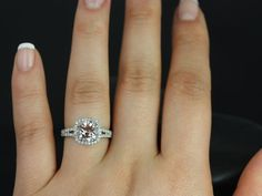 Pasley 8mm 14kt White Gold Morganite and Diamonds by RosadosBox