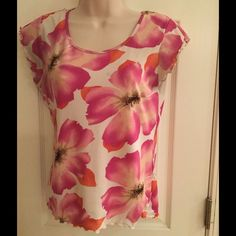 Style & Co. floral print top Cute Petite Medium top with a fuchsia and orange floral print against a white background. Would look great with your favorite pair of jeans or shorts. 100% nylon. Style & Co Tops Blouses