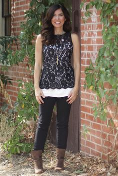 Black lace for daytime #madeinUSA outfit details: Turkish lace top byKaren Kane;black skinny jeans byJHaus; self-made tassel necklace; Brown suede Kinsey boot by Rag  Bone(soled in NY) I would like to take a minute today to thank all of you who follow, LIKE, retweet and support Mrs. American Made in any way. One year ago, I started this initiative and I had no idea where it would it take me. I have learned so much and I have even strengthened my to commitment to buying Am…