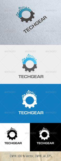 TechGear - Logo Design Template Vector #logotype Download it here: http://graphicriver.net/item/techgear/4823564?s_rank=1123?ref=nexion