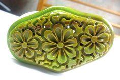 BLACK FRIDAY SALE Carved Flower Bakelite Brooch Art by OurBoudoir