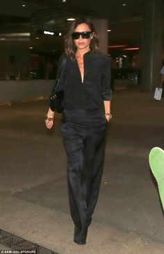 Jet set style: She never steps out with a hair out of a place. So it came as no surprise to see Victoria Beckham looking immaculate as she jetted out of LAX airport on Monday