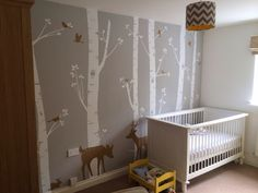 Silver birch tree forest wall sticker on grey feature wall