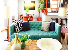 Eclectic look...love the reclaimed coffee table too!