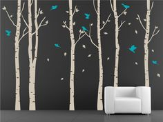 Tree with birds Wall Decal. Wall Sticker. Vinil wall decal. Birch trees. $84.00, via Etsy... living room?