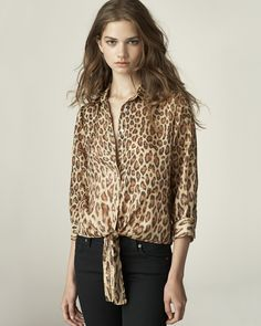Leopard Tie Front Top