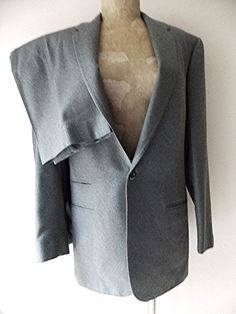 Ending Today!! Custom Made Suit Size 36 Slim Gray Wool Vintage 50s Costume Flat Front #TheTailoredMan #OneButton