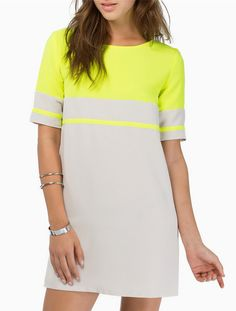 Shift Dresses Fit Every Figure! Tobi's updated line of shift dresses come in all the colors and designs you'll ever need to rep your wardrobe! Neon Yellow Dresses, Casual Dresses, Short Sleeve Dresses, Short Sleeves, Straight Dress, Colorblock Dress, Colorful Fashion, Fashion Outfits, Dress Fashion