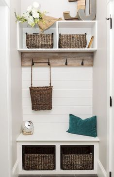 Mudroom Entryway - Small Mudroom, Small farmhouse mudroom with shiplap and basket storage. Decor, Small Mudroom Ideas, Mud Room Storage, Laundry Room Storage Shelves, Small Storage, Mudroom Design, Home Decor, Small Space Storage, Small Farmhouse