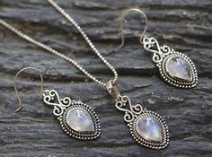 Rainbow moonstone earrings, Moonstone pendant, Jewelry set, Bridesmaid set, Christmas gift, new year gift, Dangle earrings, antique by LulaJewel on Etsy