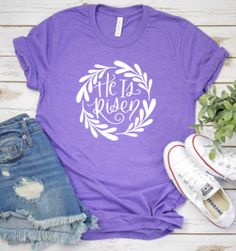 shop: He is risen tshirt, Easter tshirt, Christian shirt Excited to share this item from my Christian Tee Shirts, Easter T Shirts, He Is Risen, Outfits For Teens, Casual Outfits, Direct To Garment Printer, T Shirts For Women, Prints, Shirt Ideas