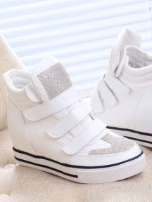 Crystal Velcro Thick Bottom Shoes