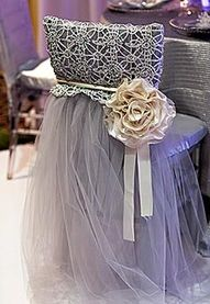 Prom dress/bridal gown to cover a chair for dressing room! Brilliant!