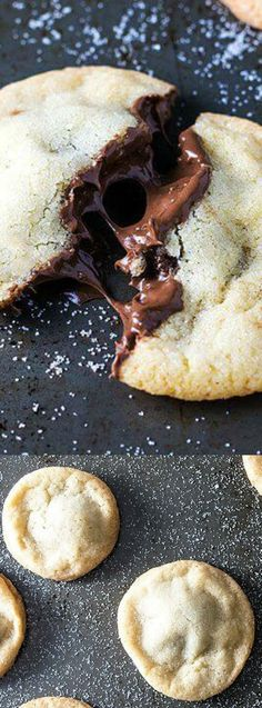 Nutella Stuffed Sugar Cookies from Homemade Hooplah are the perfect choice for a delicious dessert during any occasion! The soft and chewy sugar cookies filled with chocolaty Nutella offer a delicious surprise for anyone who wants to try a bite! Köstliche Desserts, Delicious Desserts, Dessert Recipes, Yummy Food, Tasty, Healthy Desserts, Chewy Sugar Cookies, Cookies Et Biscuits, Cream Cookies