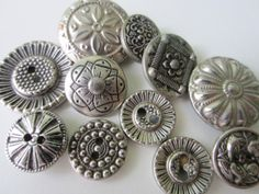 Vintage Buttons  11 assorted antique silver metal by pillowtalkswf, $5.95