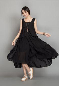 ee6917be955 Black Linen Plus Size Dress Summer Women Dress by dresstore2000 Vestidos  Glamurosos