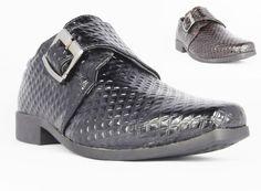 Boys Kids New Black Brown Buckle School Casual Formal Wedding Heel Shoes UK 12-3