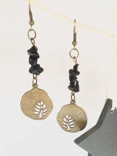 SALE Antiqued brass finish tree disk charms earrings with von zima