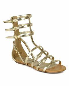 645799e27256d1 City Classified BK57 Women Metallic Leatherette Open Toe Strappy Low Calf Gladiator  Flat Sandal – Gold