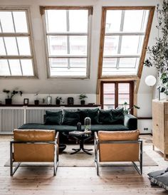 Loft style living room space with skylight windows