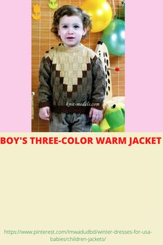 BOY'S THREE-COLOR WARM JACKET Usa Baby, Baby Smiles, Winter Dresses, Winter Season, Babies, Warm, Knitting, Children, Boys