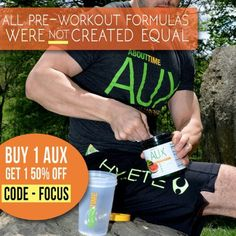 Today ONLY -- Buy 1 and receive another at 50% off Get yours NOW at TryAboutTime.com- use promo code: Focus Why AUX pre-Workout? 1. No Synthetic Caffeine- we use Guarana for an amazing boost 2. No Jitters or Crash- you just have a nice drive and focus 3. No Artificial Colors, Flavors or sweeteners- We use Stevia as our sweetener and red beet root for color  #preworkout #aux #tryabouttime #natural #stevia #nocrash #naturalathlete #naturalenergy