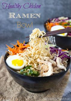 Healthy Chicken Ramen Bowls- Super simple to make! You only need one pot and about 20 min. Before you know it you'll be slurping up this flavorful soup with tons of noodles, healthy veggies, soft set eggs and a dash of hot chili oil ( or sesame Healthy Ramen, Healthy Chicken, Healthy Snacks, Healthy Eating, Healthy Recipes, Grilled Chicken, Healthy Cooking, Chicken Kabobs, Ramen Recipes