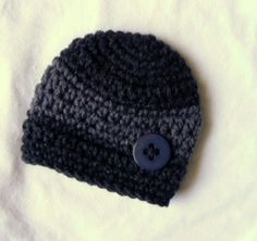 Ebony baby boy buttoned beanie hat Excellent by EveningAsters, $20.75