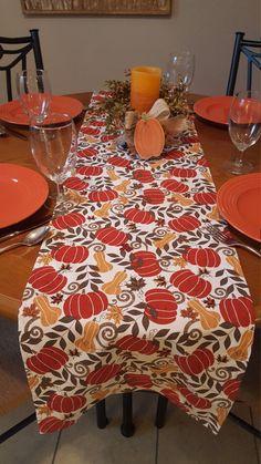 Fall Table Runner, Pumpkin Table Runner, Harvest Table Runner