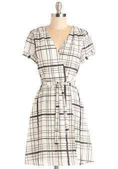 A Reel Go-Getter Dress - Mid-length, Woven, Black, Plaid, Print, Work, Wrap, Short Sleeves, Spring, Summer, White, Belted, Casual, V Neck