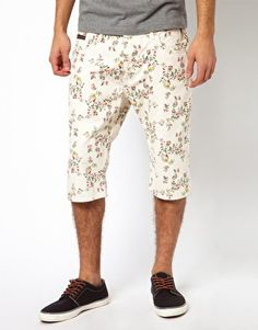 Vivienne Westwood Anglomania for Lee Shorts Low Crotch Ecru Floral Fine Twill