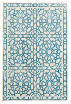 "The Rug Company MAMOUNIA SKY Martyn Lawrence-Bullard Silk, Wool ""The Mamounia rug was inspired by my travels to Morocco and my love of all things orientalist. Taken from an ancient traditional tile, I simplified the design and as such a more modern, multiple use pattern has evolved. I believe the simplicity juxtaposed with the exotic flavor of this rug lends an air of utter luxuriousness to any interior, be it traditional or modern. This design is timeless and without boundaries."""