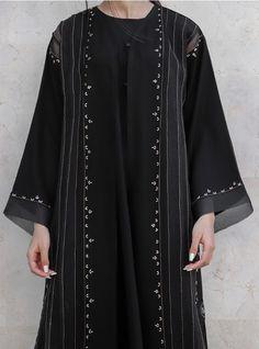 Silk Kurtas, Black Abaya, Embroidery Neck Designs, Abaya Style, Abaya Designs, Modest Wear, Abaya Fashion, Abayas, Little Girl Fashion