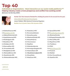 Top 40 Prime Dispute| Our #Top40 are supporting us to share our global #mission | Increase the awareness of dispute avoidance/resolution mechanisms and ensure clients avoid the unnecessary costs of litigation | #PrimeDispute #APD #MPD #FPD