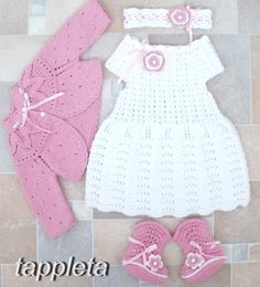 Christening Clothing – Baptism outfit babygirl 3-9 months dress bolero – a unique product by tappleta on DaWanda