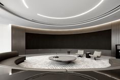 DOTHINK • AIRPORT CITY SALES CENTER - Picture gallery Showroom Interior Design, Lobby Interior, White Reception Desk, Mirror Ceiling, Aesthetic Space, Sales Center, Ceiling Design, Rest Area, Design Firms
