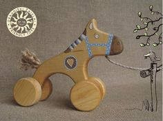 Wooden Toy a Blue Horse eco friendly natural by friendlytoys