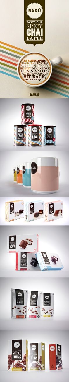 Baru by serge haelterman, via Behance *** As art director at Creneau International I designed the logo, brand identity, packaging and point of sale for the Belgian Crazy Bad Wonderful chocolate brand BARÚ
