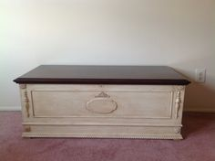 Vintage Hope Chest refinished with folk art chalk paint and top stained with mahogany varnish