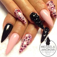 Stiletto nails, rhinestones nails, pink nails