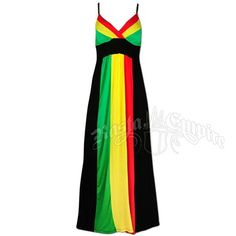 This long A-line V-neck Rasta and reggae dress has spaghetti straps and soft padded cups. The bust is striped red, yellow and green. There is a black stripe underneath the bust. The Rasta colored stripes of red, yellow, and green run down from under the bust all the way down the front of the dress. The back of the dress is solid black.  Hand Wash in cold water. Hang dry only. Made of 95�0Rayon