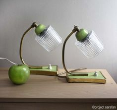 Pair of 1950s Lamps. Clear textured Glass, Green and Brass Detail. Midcentury Lighting by Project Sarafan