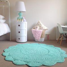 Hardwearing Crochet Floor Rug in Mint - 120cm (PRE ORDER) - Little Rosie & Me