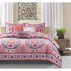 Madison Park Penza KING 7 Piece PINK Purple Medallion Comforter Bedspread Set #MadisonPark