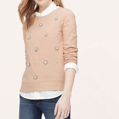 NWT Ann Taylor Loft Starburst Jeweled Sweatshirt, Cocoa Sand, Medium, $69.50 #LOFT #knittop #ebay #ebayseller #forsale   $39.99 OBO