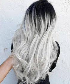 Pin By On Hair Dyes In 2019 Silver Ombre Hair .: Pin by on Hair dyes in 2019 Silver ombre hair black to silver… Color Ombre Hair, White Ombre Hair, Silver Ombre Hair, Silver Blonde, Hair Color Highlights, Blonde Color, Cool Hair Color, Black Ombre, Hair Colors