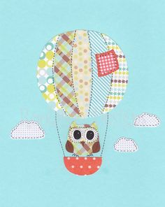 Nursery Art Print - Baby Nursery Decor - Owl decor - hor air balloon nursery art - Green, blue and brown 8x10 Print