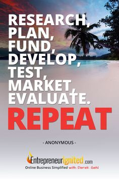 Research, plan, fund, develop, test, market, evaluate. REPEAT! Find out how at entrepreneurignited.com
