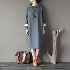 Solid Long sleeve Turtleneck Plus size Women Autumn Dress Cotton Fleece Warm Winter Midi Long Dress Fashion Robe Femme A145